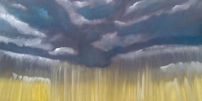 Ölbild auf Leinwand, Regenwolken über Lamdschaft von Ariane Zuber, 50x70 cm