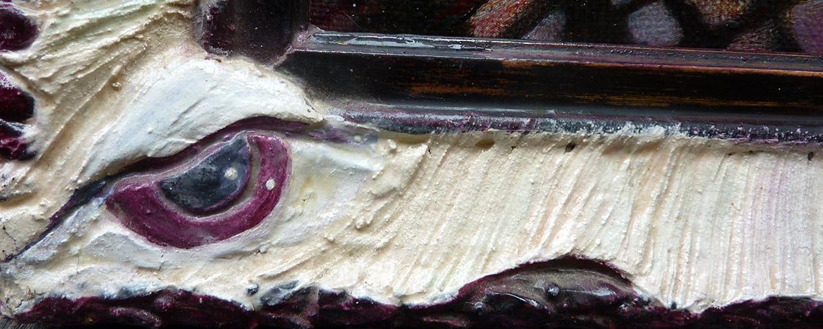 Argusauge sei wachsam, Ölbild mit Unikatrahmen von Ariane Zuber