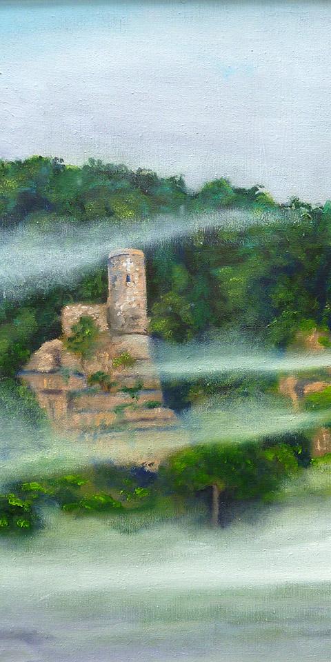 Der Hugenottenturm über Bad Karlshafen, Ölbild von Ariane Zuber