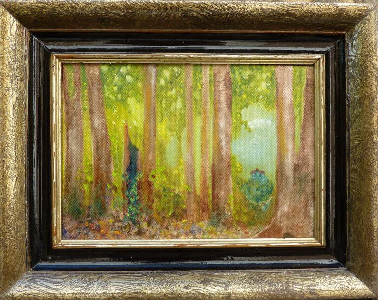 Kleiner Märchenwald, Ei-Tempera auf Malpappe von Ariane Zuber