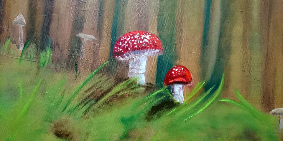Waldinneres mit Pilzen, Ölbild von Ariane Zuber