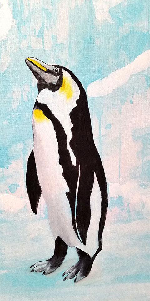 Pinguin, Acrylbild von Ariane Zuber