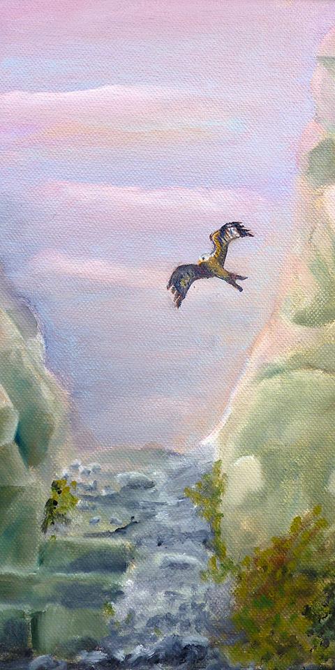Schlucht mit Rotmilan, Ölbild von Ariane Zuber