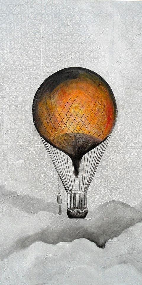 Vintage Serie Ariane Zuber: Ballonfahrt, Mischtechmik auf Leinwand