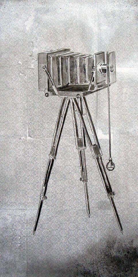 Vintage Serie Ariane Zuber, alte Kamera auf Leinwand
