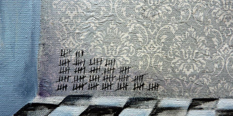 Zeitfenster, Mischtechnik auf Leinen von Ariane Zuber