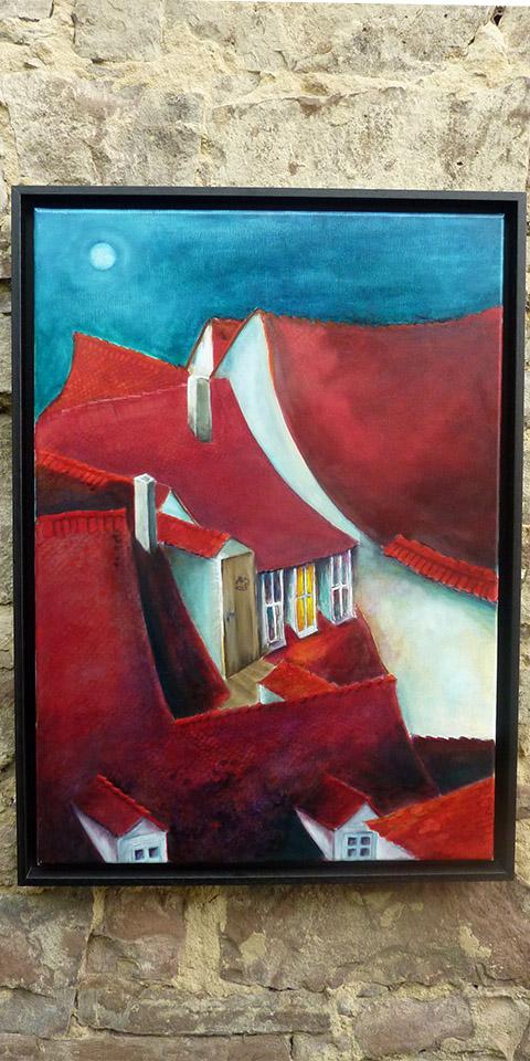Dächer von Bamberg, Ölbild von Ariane Zuber
