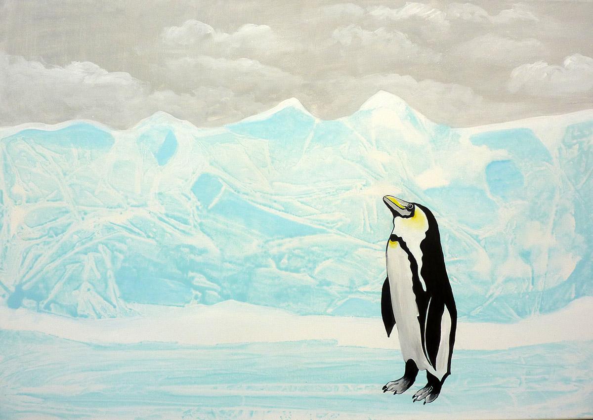 Eiszeit mit Pinguin, Acryl auf Leinwand von Ariane Zuber, 70x100 cm
