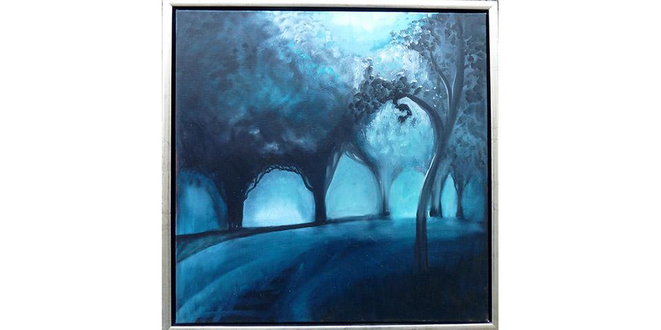 Die blaue Stunde, Öl auf Leinwand von Ariane Zuber