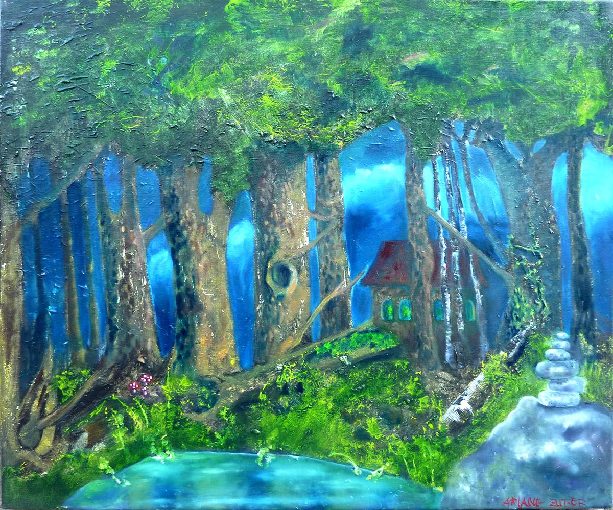 Im Märchenwald, Öl auf Leinwand von Ariane Zuber
