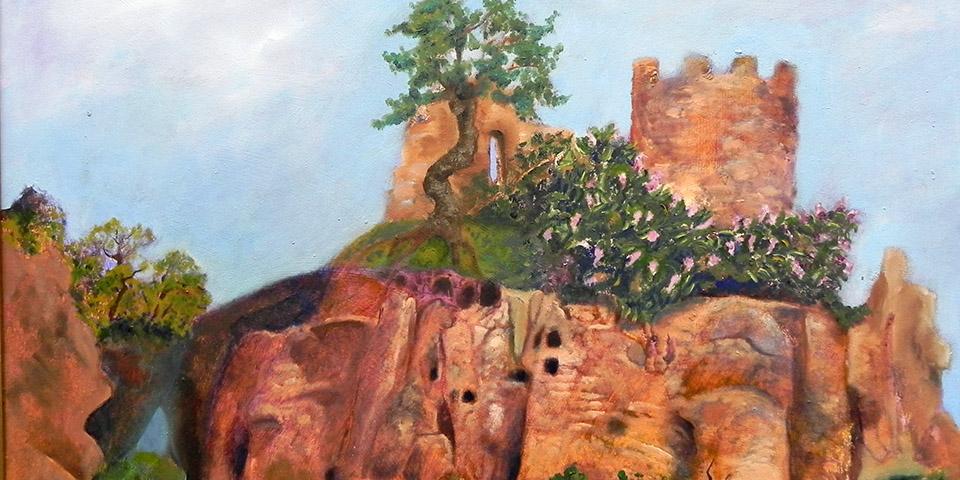 Hinter den Apfelbäumen, Öl auf Holz von Ariane Zuber