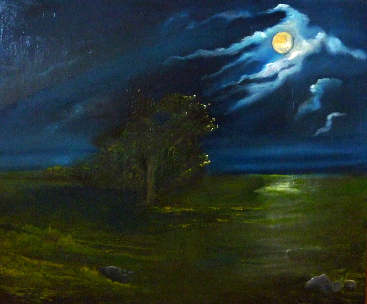 Mondnacht, Ariane Zuber, Öl auf LEinwand, 50x60 cm