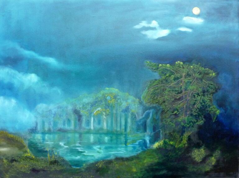 Mondnacht, Gemälde von Ariane Zuber, Öl auf Leinwand, 60x80 cm