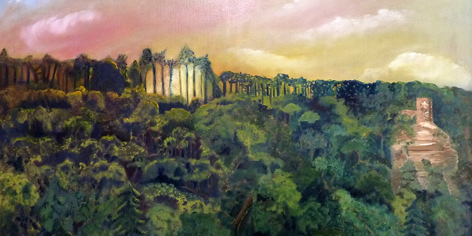 Hugenottenturm, Ölbild von Ariane Zuber, 50x70 cm