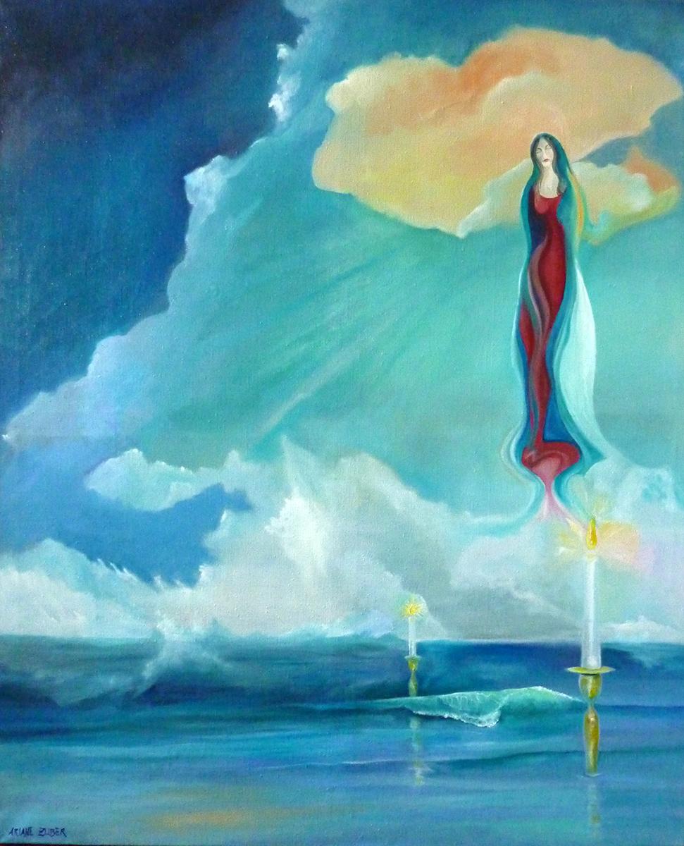 Marienbildnis von Ariane Zuber, Öl auf Leinen, 140x115 cm