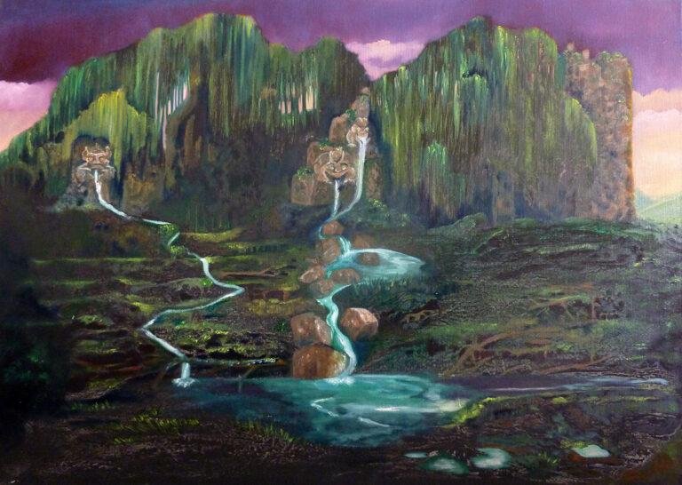 Märchenwaldbewohner, Öl auf Leinwand von Ariane Zuber