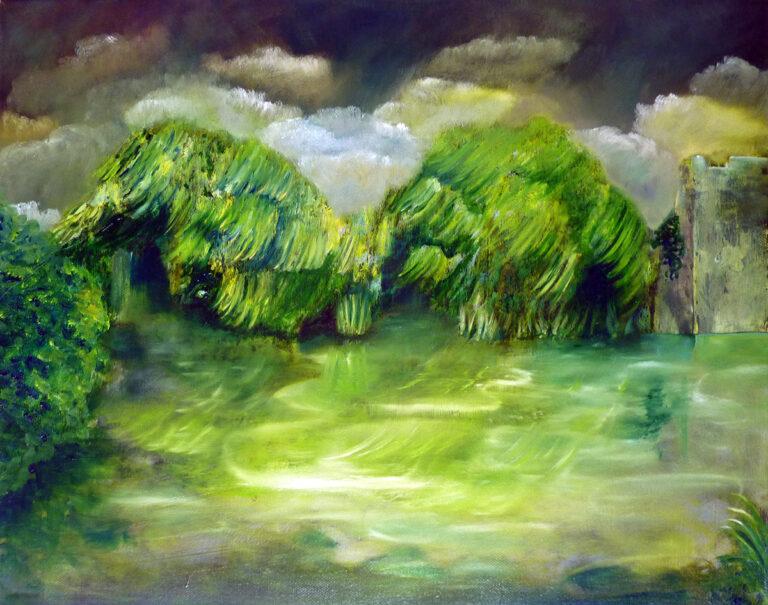 Gewitter im Urwald, Malerei von Ariane Zuber, 40x50 cm, Öl auf Leinwand