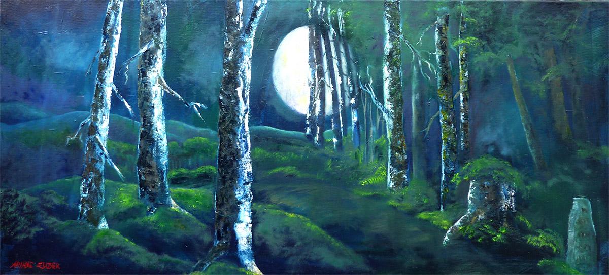 Die Mondnacht von Ariane Zuber, Öl auf Leinwand, 120x55 cm