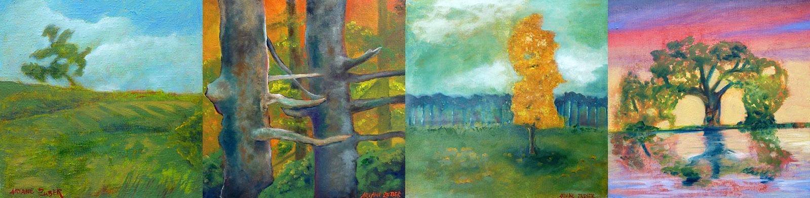 Bäume, Öl auf Leinwand, Ariane Zuber, je 30x30 cm