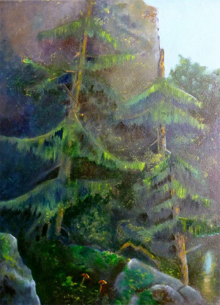 Ariane Zuber: Vom Schatten ins Licht, Öl auf Leinwand, 30x40x4 cm