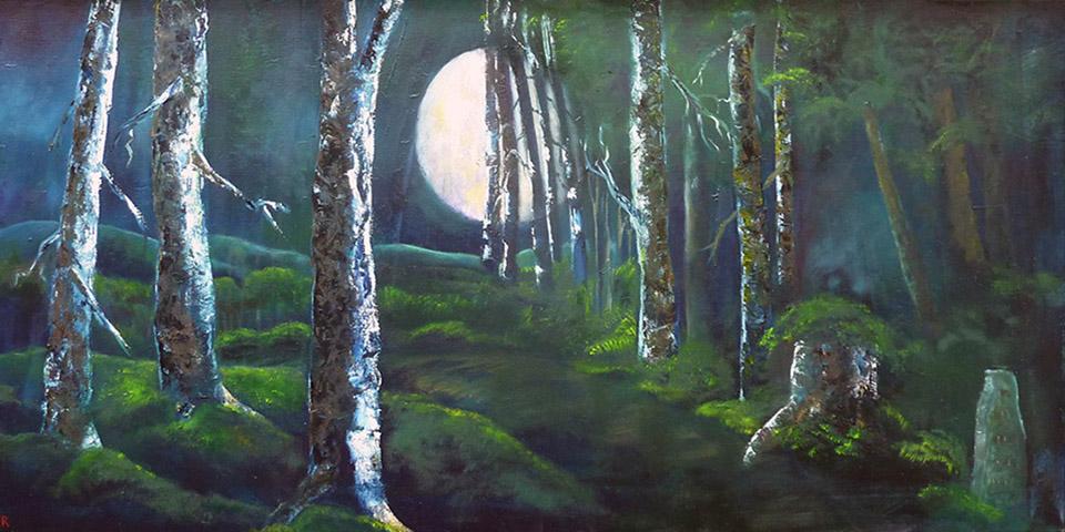 Mondnacht im Wald, Öl auf Leinwand von Ariane Zuber