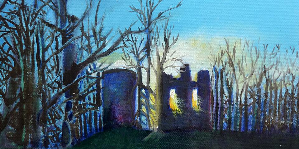 Krukenburg im Gegenlicht, Öl auf Leinwand, Ariane Zuber