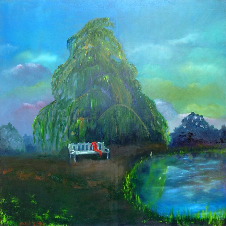 Moment der Ruhe, Gemälde von Ariane Zuber, Öl auf Leinwand, 80x80cm