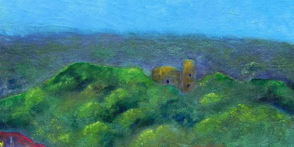Nacht über der Krukenburg, kleines Ölbild von Ariane Zuber