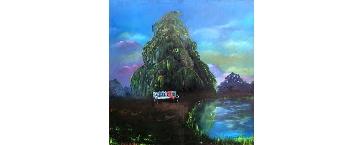 Ariane Zuber: Blaue Stunde unter der Weide, Öl auf Leinwand, 80x80 cm