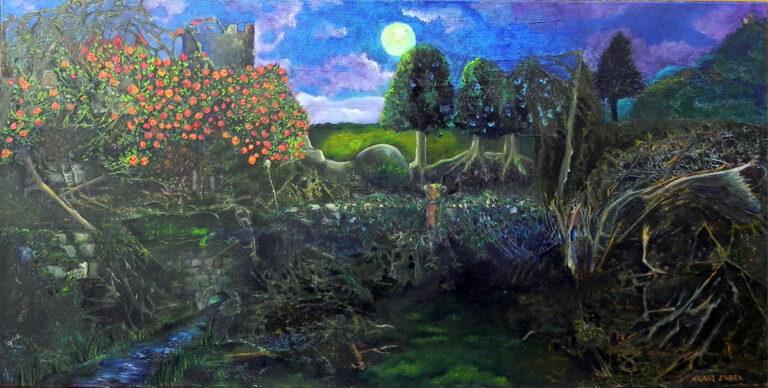 Dornröschenschlaf von Ariane Zuber, Ei-Tempera- und Ölfarbe auf Leinwand, 50x100 cm