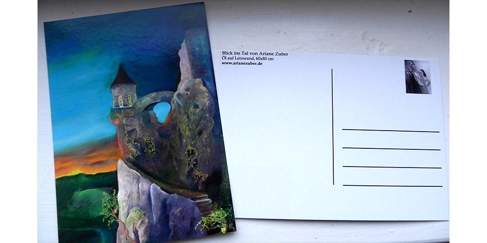 Postkarte Märchenburg von Ariane Zuber