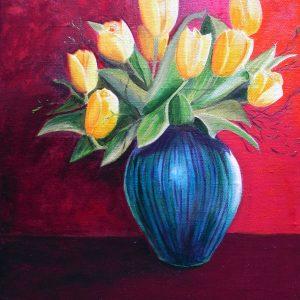 Stillleben Tulpen, Öl auf Leinen von Ariane Zuber