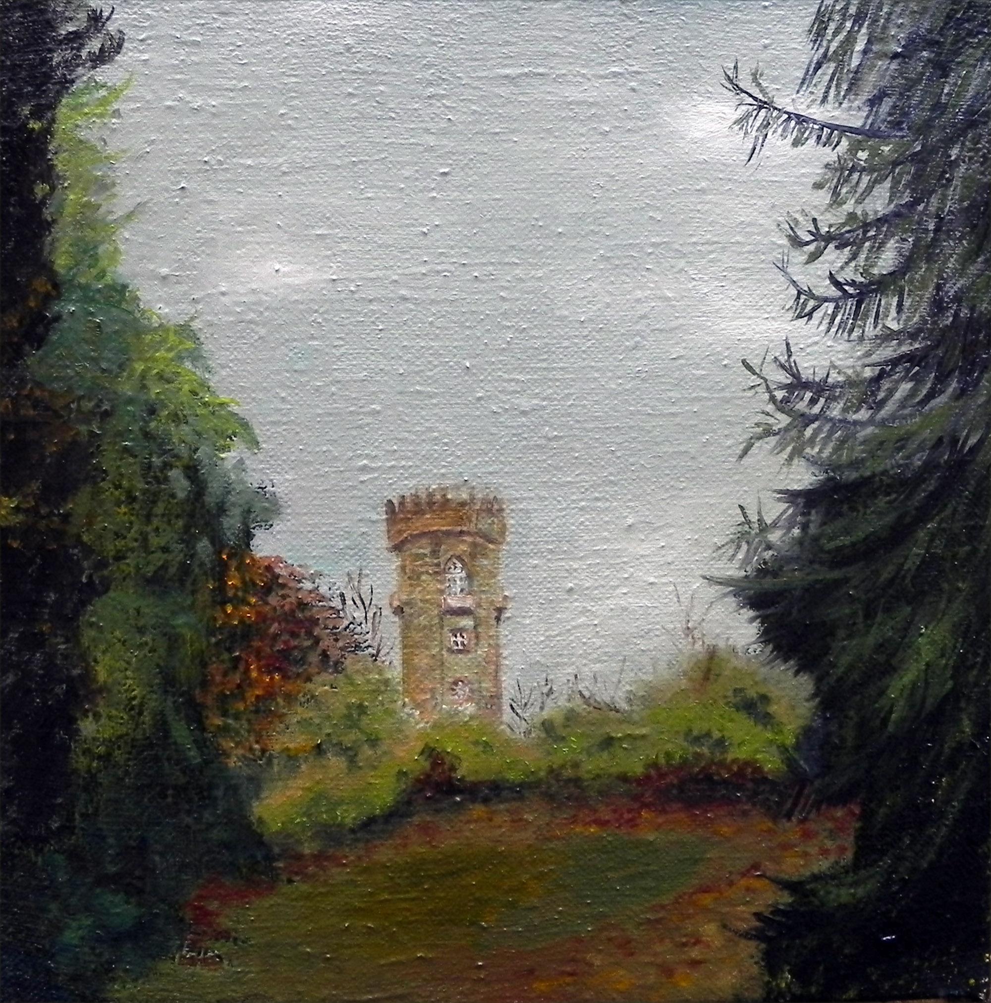 Wartturm Wilhelmsthal, LAndschaftsbild von Ariane Zuber, 30x30 cm, Ol auf Leinen
