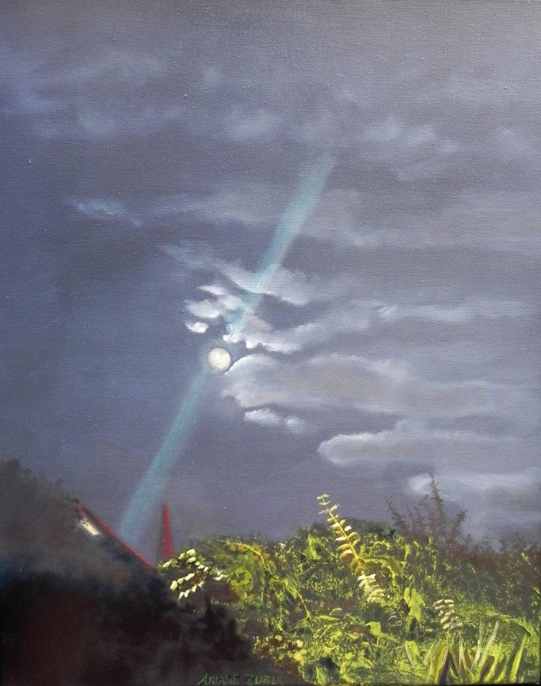 Vollmond im Garten, Malerei von Ariane Zuber