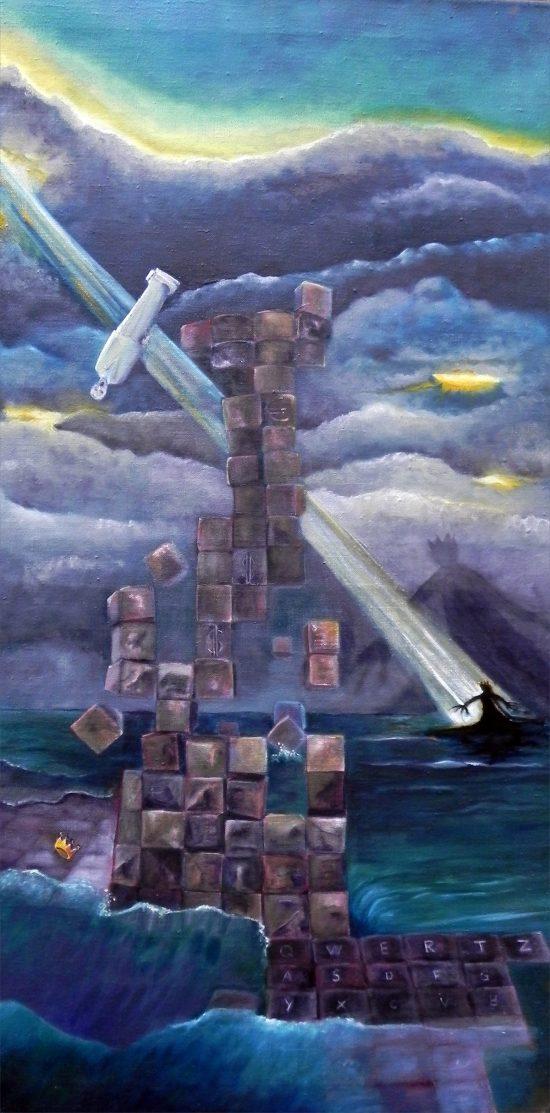 Die falsche Krone, Malerei von Ariane Zuber, Öl auf Leinen, 50x100cm