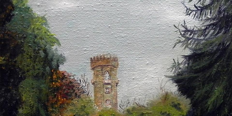 Wartturm Wilelmstal bei Kassel, Oelbild von Aiane Zuber