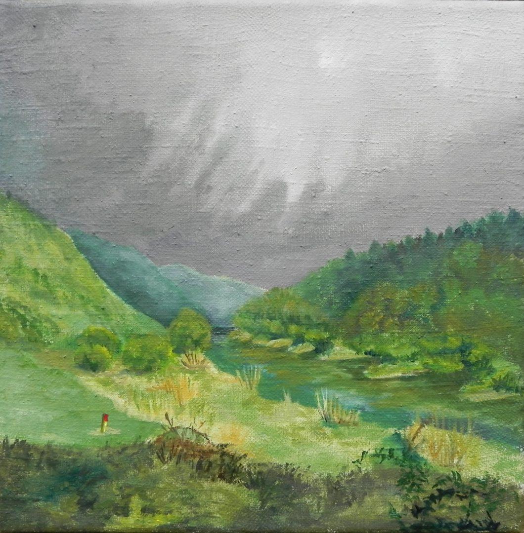 Weserblick von Ariane Zuber, 30x30 cm, Öl auf Leinen