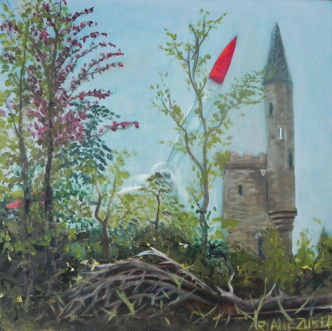 Bismarckturm bei Hoexter, Oelbild von Ariane Zuber